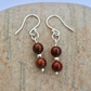 Sterling Silver Gemstone Drop Earrings with Poppy Jasper,  E145