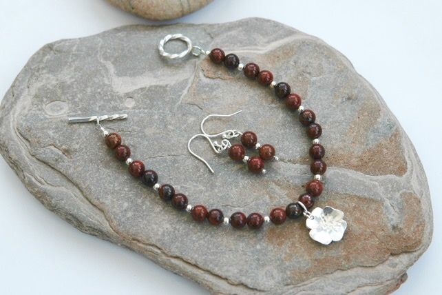 Sterling Silver Gemstone Bracelet with Poppy Jasper,  B127