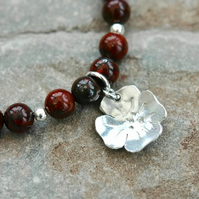 Sterling Silver Gemstone Bracelet with Poppy Jasper and Poppy Flower Charm