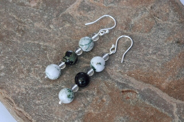 Sterling Silver Drop Earrings with Moss Agate and Jasper,   E142