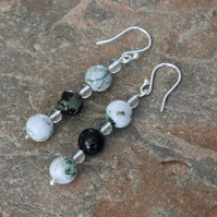 Sterling Silver Drop Earrings with Moss Agate and Jasper