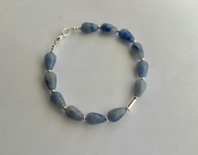 Sterling Silver Gemstone Bracelet with Blue Aventurine,  B128