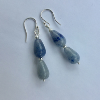 Sterling Silver Gemstone Drop Earrings with Blue Aventurine,  E146