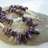 Sterling Silver Gemstone Necklace and Earring Set, Charoite and Quartz, S16