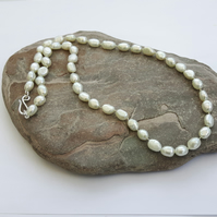 Freshwater Pearl Necklace, hand knotted with Sterling Silver clasp,  P180