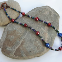 Multicoloured Rainbow Haematite and Pearl Necklace with Swarovski crystal