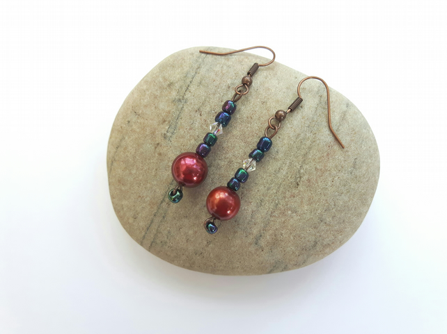 Multicoloured Drop earrings with Rainbow Haematite, Pearl and Swarovski crystal