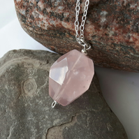 Sterling Silver and Rose Quartz Pendant Necklace