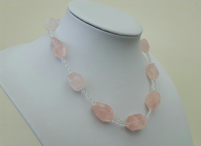Sterling Silver and Rose Quartz Necklace with  Crystal Quartz