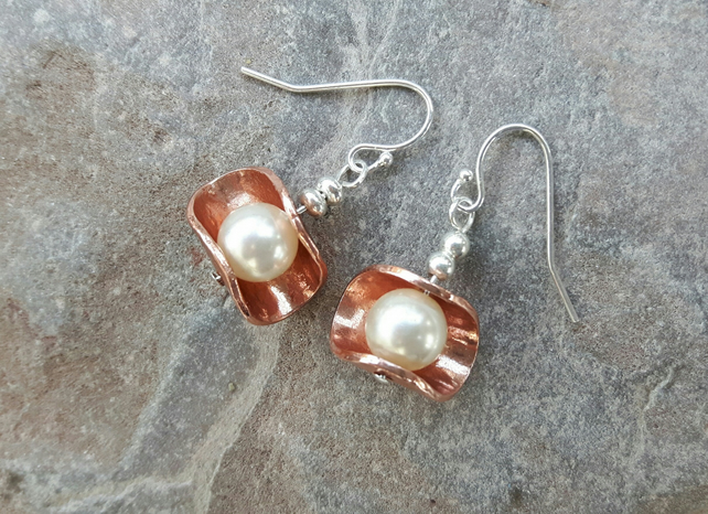 Sterling Silver, Copper and Pearl Drop Earrings