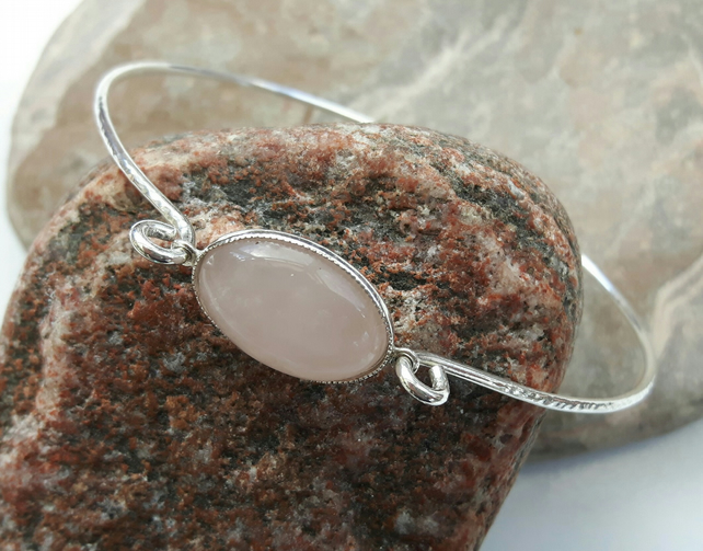 Sterling Silver Bangle with Rose Quartz Cabochon