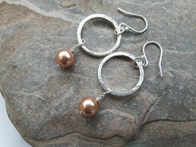 Sterling Silver hammered hoop earrings with rose gold Swarovski Pearl
