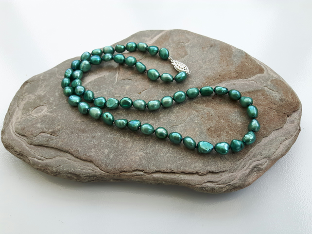 Freshwater Pearl Necklace, Teal, with Sterling Silver