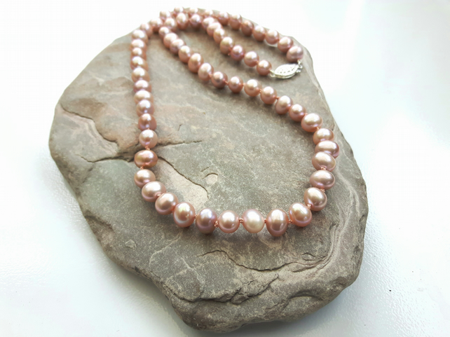 Pearl Necklace, Pale Pink, with Sterling Silver Clasp