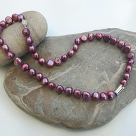 Freshwater Pearl Necklace, Fuchsia, with Sterling Silver