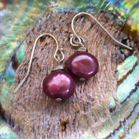 Sterling Silver and Pearl Drop Earrings, Fuchsia