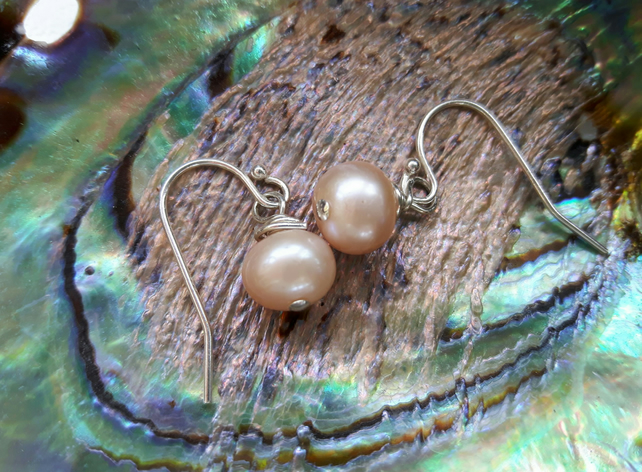 Sterling silver and Pearl Drop Earrings, Peach