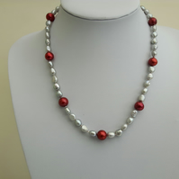 Pearl and Sterling Silver Necklace, Silver and Red