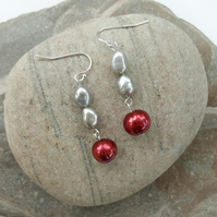 Sterling Silver and Pearl Drop Earrings, Silver and Red