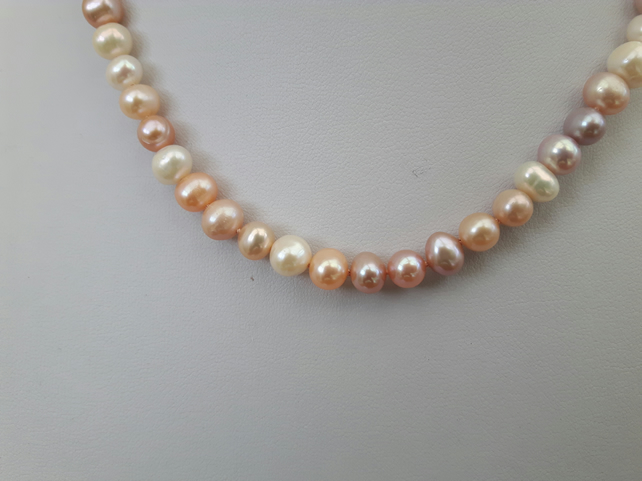Pearl Necklace, Peach, with Sterling Silver