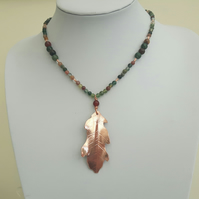 Copper Oak Leaf Pendant on Gemstone Necklace
