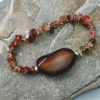 Gemstone Stretch Bracelet with Sunstone, Agate and Sterling Silver