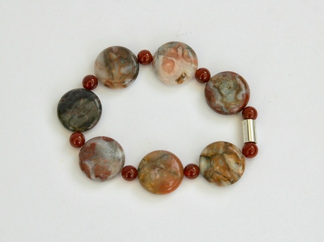 Crazy Agate and Carnelian Stretch Bracelet with Sterling Silver,  B105