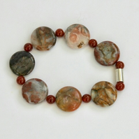 Crazy Agate and Carnelian Stretch Bracelet with Sterling Silver