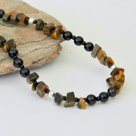Sterling Silver Necklace and Earrings with Golden Tiger's Eye and Agate