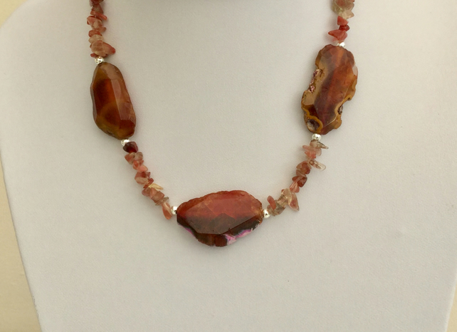 Sterling Silver Gemstone Necklace with Sunstone and Agate