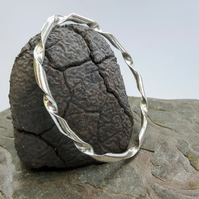 Sterling Silver Bangle, Chunky Twist Style