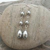 Pearl drop earrings, Sterling silver and Swarovski pearl, silver grey