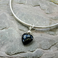 Silver Bangle with Onyx Heart Charm