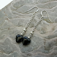 Silver drop earrings with Onyx hearts