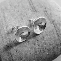Sterling silver stud earrings, domed and hammered