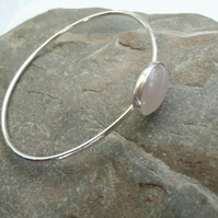 Silver Bangle with rose quartz gemstone