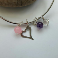 Silver Bangle with amethyst, rose quartz, heart charm and Swarovski crystal