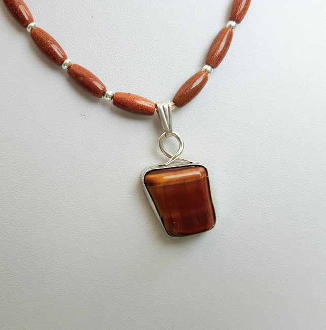 Tiger's Eye Freeform Pendant Necklace with Sterling Silver and Goldstone
