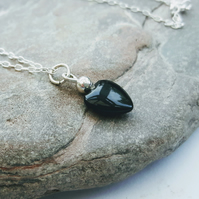 Black Onyx Heart Pendant on Silver Chain, Valentine's Gift