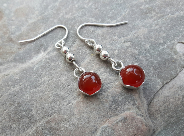 Sterling Silver drop Earrings with Red Carnelian Cabochons