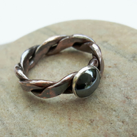 Copper Ring with Sterling Silver and Haematite