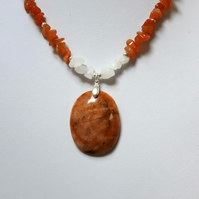 Sterling Silver Gemstone Necklace with Zebradorite, Orange Jade and Quartz