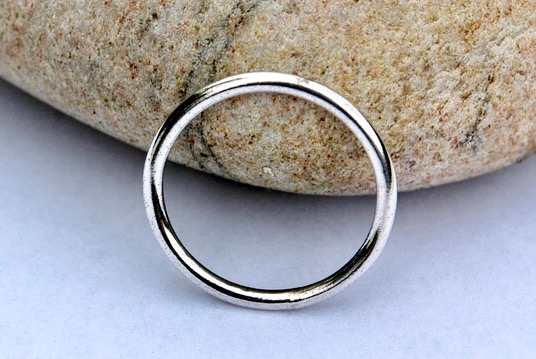 Classic Plain Round Sterling Silver Ring, size V,  Man's Ring