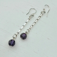 Sterling Silver Twist Drop Earrings with Amethyst Glass Bead