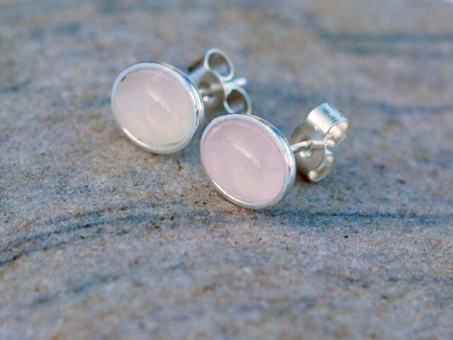 Sterling Silver Oval Stud Earrings with Rose Quartz Gemstones