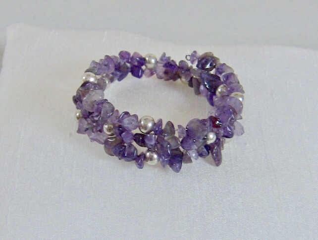 SALE! 50% off Amethyst and Silver Memory Wire Bracelet, February Birthstone