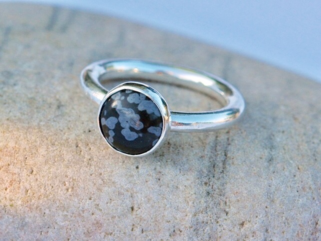 Chunky Sterling Silver Ring with Snowflake Obsidian Gemstone, size R, Unisex