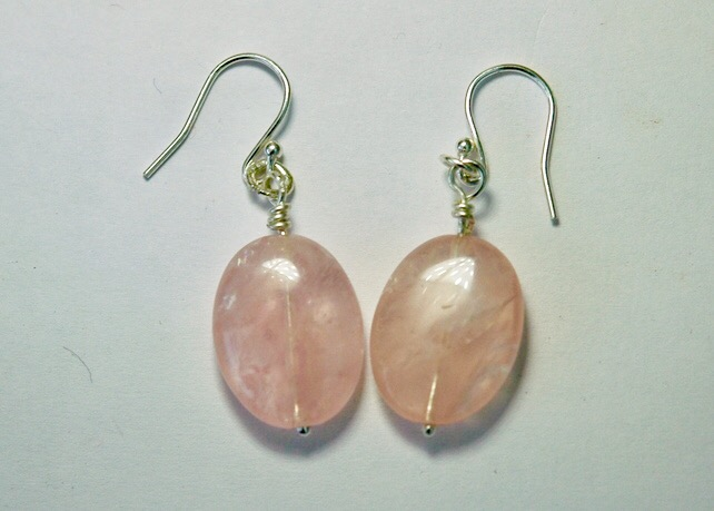 Sterling Silver and Pink Rose Quartz Drop Earrings