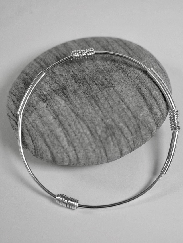 Sterling Silver Mobile Bangle with Tubes and Spirals, Hallmarked
