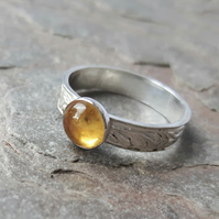 Silver Ring with leaf pattern and Citrine Gemstone